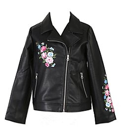 Speechless Girls' 7-16 Embroidered Faux Leather Jacket