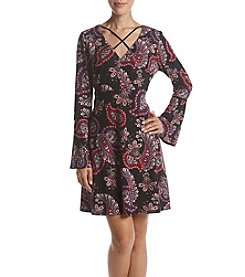 Madison Leigh Paisley Bell Sleeve Dress