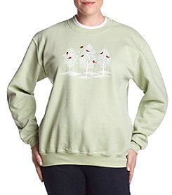 Breckenridge Plus Size Forest Cardinals Sweater