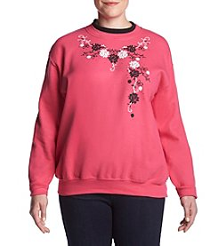 Morning Sun Plus Size Floral Vine Sweatshirt
