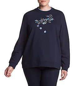 Breckenridge Plus Size Floral Embroidery Crewneck Sweatshirt