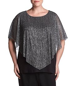 AGB Plus Size Lurex Mesh V Hem Top