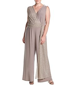 R&M Richards Plus Size Gold Wrap Toga Jumpsuit