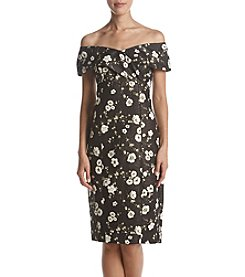 Adrianna Papell Floral Printed Off The Shoulder Dress