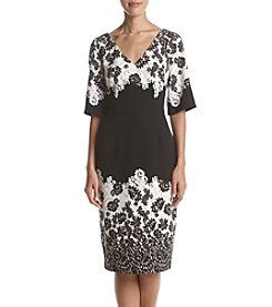 Adrianna Papell Lace Print V-Neck Dress