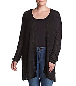 Love Always Plus Size Mid Lace-Up Black Cardigan