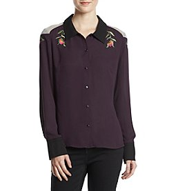 Love & Combat Floral Embroidery Detail Top
