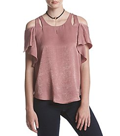 A. Byer Ruffle Sleeve Cold Shoulder Top