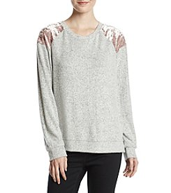 Pink Rose Crushed Velvet Shoulder Brushed Pullover