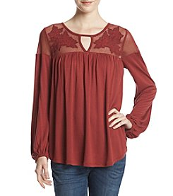 Jessica Simpson Solid Floral Applique Top