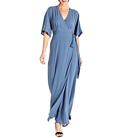 Standards & Practices Olivia Wrap Front Kimono Sleeve Maxi Dress