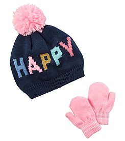 Carter's Girls' 12 Months-4T Happy Hat and Mitten set
