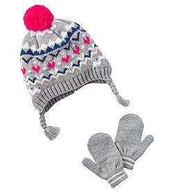 Carter's Girls' 12 Months-4T Fairisle Hat and Mittens set