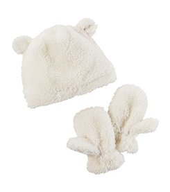Carter's Girls' 12 Months-4T Sherpa Hat and Mittens Set