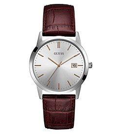 GUESS Men's Silvertone Face Brown Leather Watch