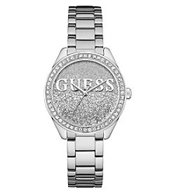 GUESS Women's Glitter Girl Round Face Silvertone Watch