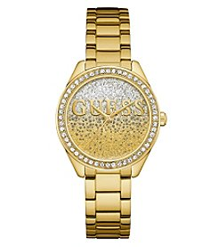 GUESS Women's Glitter Girl Roundface Goldtone Watch