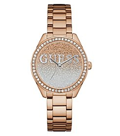 GUESS Women's Glitter Girl Roundface Rose Goldtone Watch