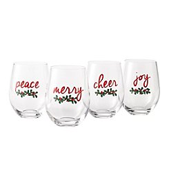 Living Quarters Holiday Stemless Wine Glasses