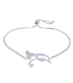 Athra Cubic Zirconia Adjustable Slider A Initial Bracelet