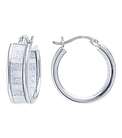Athra Silvertone Glitter Hoop Earrings