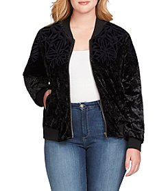 Jessica Simpson Plus Size Embossed Detail Velvet Bomber Jacket
