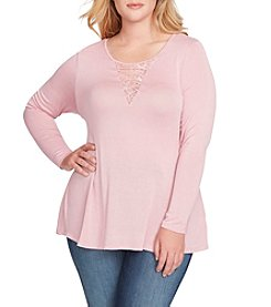 Jessica Simpson Plus Size Lace Up Insert Top