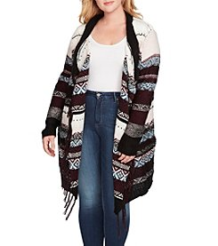 Jessica Simpson Plus Size Printed Jacquard Cardigan Sweater