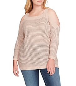 Jessica Simpson Plus Size Karafina Cold Shoulder Sweater