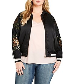 Jessica Simpson Plus Size Sequin Detailed Bomber Jacket