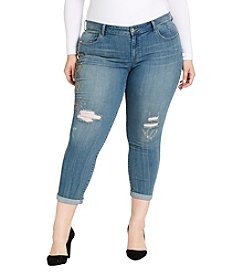 Jessica Simpson Plus Size Destructed Detail Boyfriend Jeans