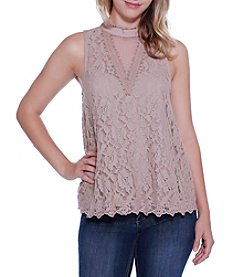 Skylar & Jade by Taylor & Sage Lace Overlay Top