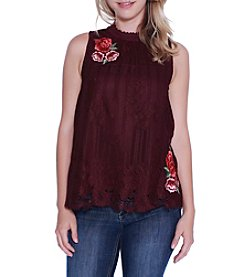 Skylar & Jade by Taylor & Sage Lace Mock Neck Swing Top