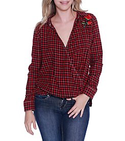 Skylar & Jade by Taylor & Sage Wrap Front Ront Plaid Shirt