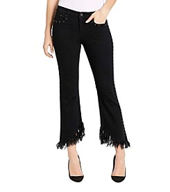 William Rast® Crop Flare With Studs And Furry Angle Hem Jeans