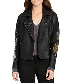 William Rast® Ace-High Alexa Embroidered Faux Leather Jacket