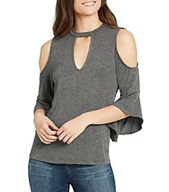 William Rast® Sebastian Cold Shoulder Keyhole Neck Top