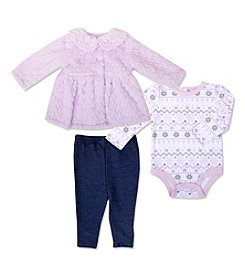 Cuddle Bear® Baby Girls' 3 Piece Plush Jacket, Bodysuit And Pants Set