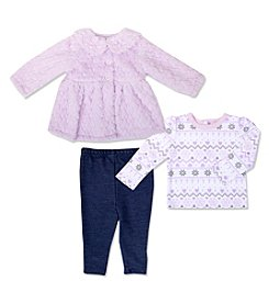 Cuddle Bear® Baby Girls' 3 Piece Plush Jacket Shirt And Pants Set