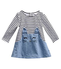 Sweet Heart Rose® Girls' 2T-4T Long Sleeve Striped Chambray Bunny Skirt Dress