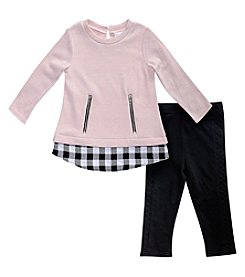 Sweet Heart Rose® Girls' 4-6X Sweater With Plaid Hem And Leggings