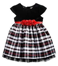Sweet Heart Rose® Girls' 2T-6X Short Sleeve Velvet Top And Plaid Skirt Dress