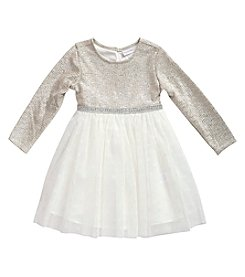Sweet Heart Rose® Girls' 2T-6X Long Sleeve Rhinestone Top And Flocked Skirt Dress