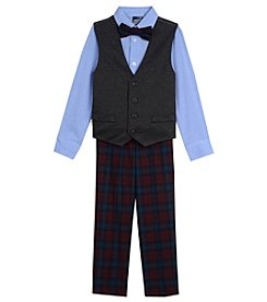 Nautica Boys' 2T-7 3 Piece Denim Knit Vest & Plaid Pants Set
