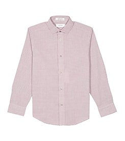 Calvin Klein Boys' 8-20 Long Sleeve Yarn Dye Check Shirt