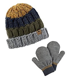 Carter's Boys' 12 Months-4T Stripe Beanie Hat and Mittens Set
