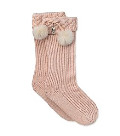 UGG® Girls' Mini Poms Rainboot Socks