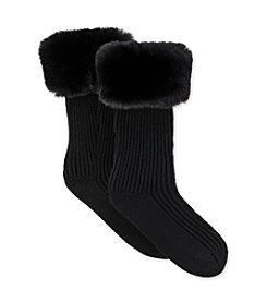 UGG® Girls' Faux Fur Rainboot Socks