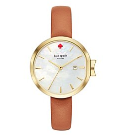 kate spade new york Women's Park Row Brown Leather Watch
