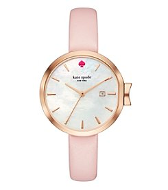 kate spade new york Women's Park Row Pink Leather Watch